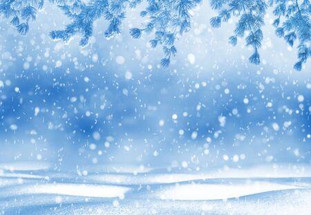 Photo pour Christmas bright background. Winter Christmas background for design and greeting cards. Winter landscape. - image libre de droit