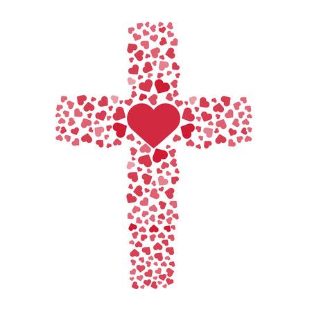 Illustration pour Jesus true love. Cross. Heart. Love. Vector illustration - image libre de droit