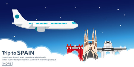 Ilustración de Travel to Spain skyline. Sagrada Familia. Vector flat illustration - Imagen libre de derechos