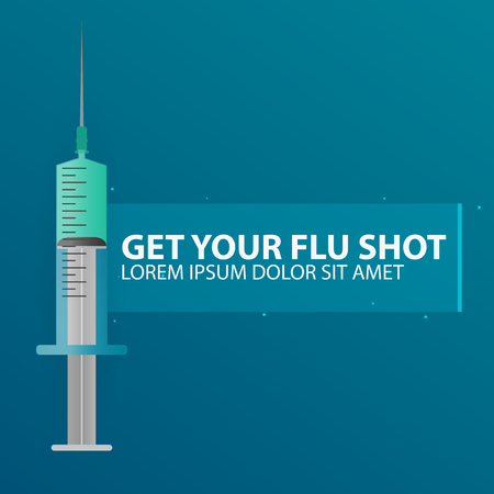 Medical care. Syringe for injection vaccine . Vector flat illustration