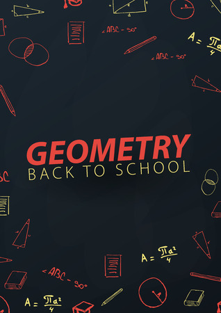 Geometry School subject with hand-draw doodles. Education banner. Vector illustration