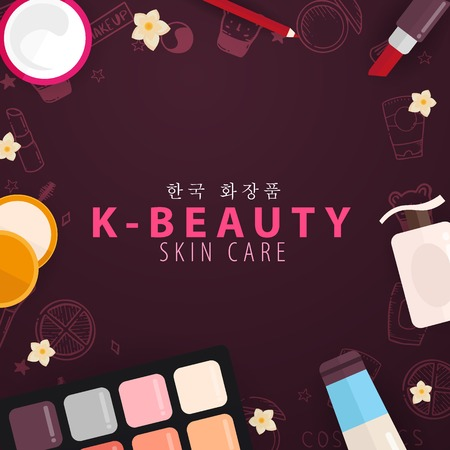 Korean Flat Cosmetics K Beauty Banner With Hand Draw Doodle Background Skincare And Makeup Vector Illustration Royalty Free Vector Graphics