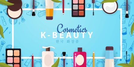 Korean Flat Cosmetics K Beauty Banner With Hand Draw Doodle Background Skincare And Makeup Translation Korean Cosmetics Vector Illustration Royalty Free Vector Graphics