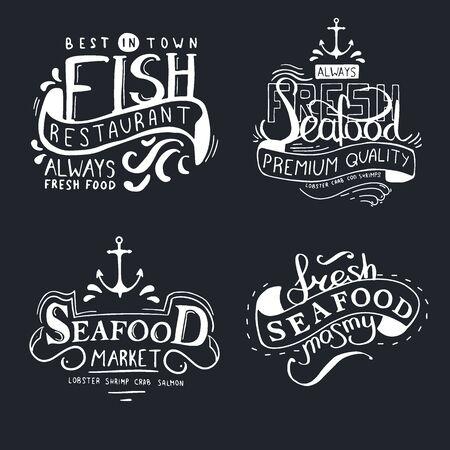 Illustration pour Fish Restaurant. Fresh Seafood hand draw lettering. - image libre de droit