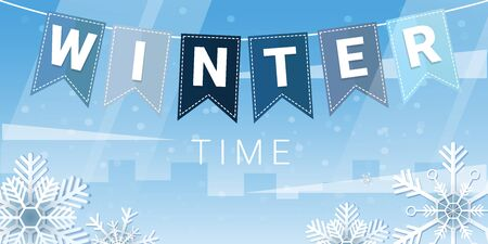 Illustration pour Winter Time. City landscape with bunting flags and snowflakes - image libre de droit