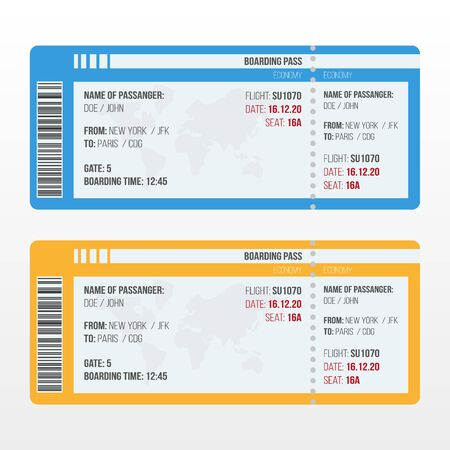 Illustration for Travel by plane. Airline travel boarding pass. Vector flat template. - Royalty Free Image