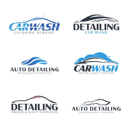 Illustration for Set of Car Wash logos. Cleaning Car, Washing and Service. Vector logo with auto. - Royalty Free Image