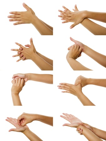 Eight images of woman washhing her hand isolated over white background