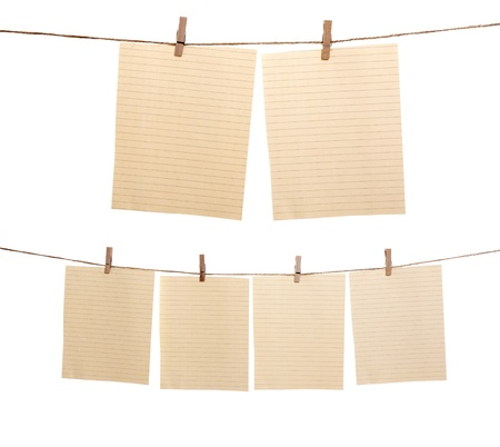 Collection of paper sheet hanging on the rope isolated over white background