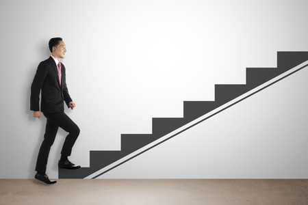 Business man step up imaginary stair. Career development concept