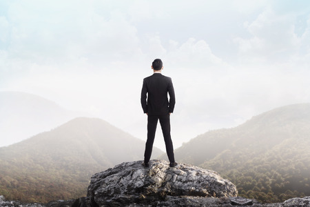 Foto de Business man standing on the top of the mountain looking at the valley. Business success concept - Imagen libre de derechos