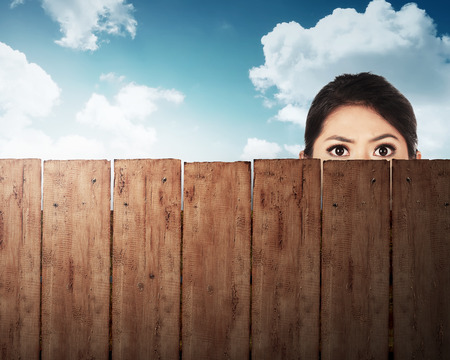 A woman head behind wooden fence with blue sky background