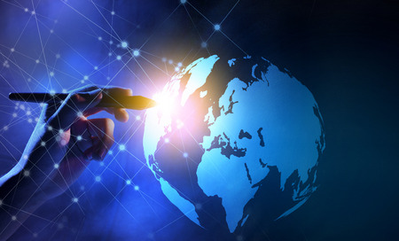 Photo pour Business hand with markers touching a globe on virtual screen with internet network background. Digital technology concept - image libre de droit