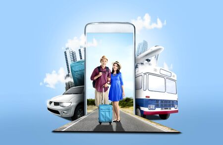 Photo pour Mobile phone with transportation and buildings on blue background. From the phone comes asian couple in hat with suitcase bag and backpack standing on the street. Traveling concept - image libre de droit