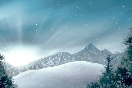 Photo pour View of hills with snowy trees and sunlight over blue sky background - image libre de droit