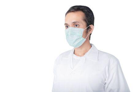 Photo pour Asian man wearing a flu mask isolated over white background. Prevent flu disease Coronavirus - image libre de droit