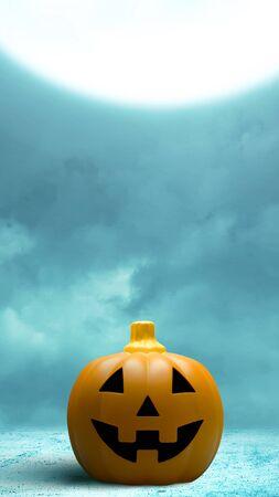 Foto de Jack-o-Lantern on the floor with moonlight background. Stories template for Halloween - Imagen libre de derechos