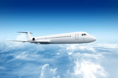 Photo pour Airplane flying in the air with a blue sky scene - image libre de droit