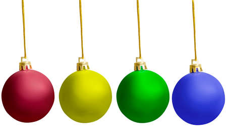 Photo pour Colorful Christmas ball hanging isolated over white background - image libre de droit
