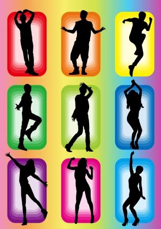 popular dance idol or model girl man silhouette