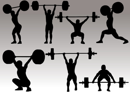 illustration of weight lifter athlete silhouette