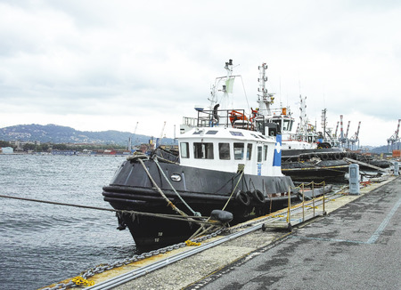 tug boats in the harbour of la spezie