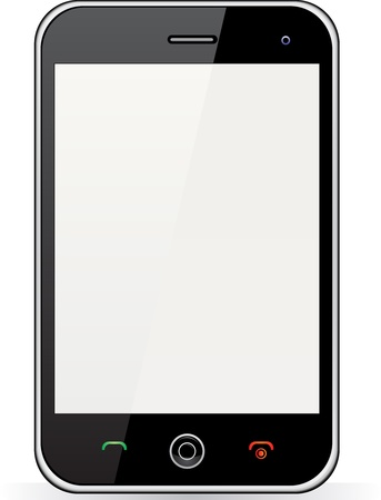 Realistic mobile phone with blank screen isolated on white background