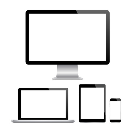 Modern monitor, computer, laptop, phone, tablet