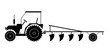 Illustration pour Tractor with agricultural machinery for field work vector eps 10 - image libre de droit