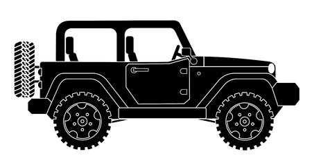 Ilustración de SUV jeep for safari and extreme travel pictogram vector eps 10 - Imagen libre de derechos