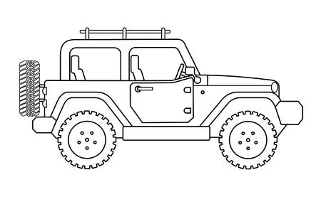 Ilustración de Suv jeep for safari and extreme travel drawing vector eps 10 - Imagen libre de derechos