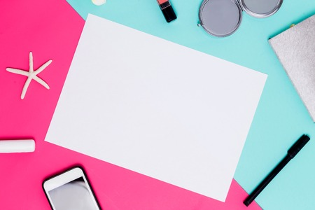 Photo pour Flat lay white sheet of paper for text and advertising on colorful background with accessories. spring theme - image libre de droit