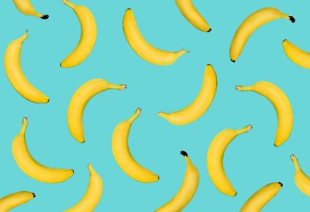 Foto für Outstanding yellow banana on pastel blue background. Fruits fall from top to bottom - Lizenzfreies Bild