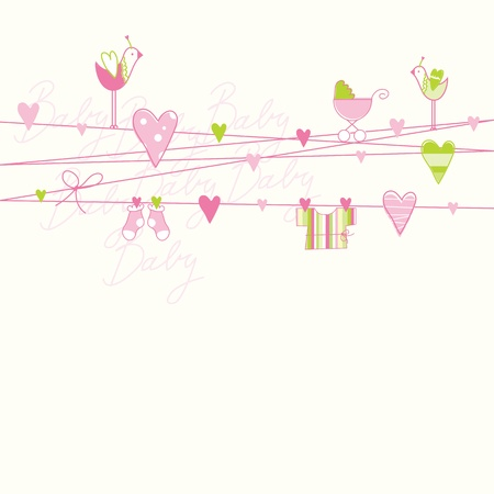 Illustration for Baby shower card with copy space  - Royalty Free Image