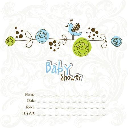 Illustration pour Baby shower invitation with copy space - image libre de droit