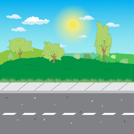 Illustration pour suburban road with a sidewalk on field background - image libre de droit