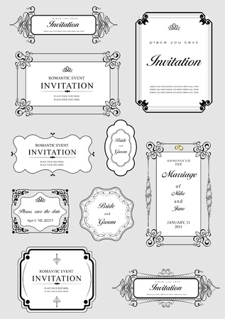 Illustration for Set of ornate vector frames and ornaments with sample text. Perfect as invitation or announcement. All pieces are separate. Easy to change colors and edit. - Royalty Free Image