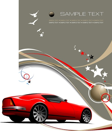 Light brown business background with red sport  car image. Vector illustration