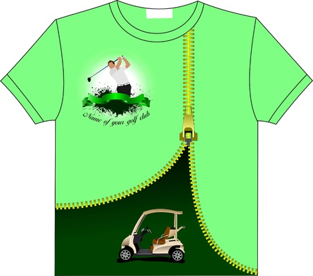 Trendy T-Shirt design with Golf club image. Vector illustration
