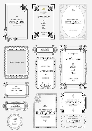 Set of ornate vector frames and ornaments with sample text. Perfect as invitation or announcement. Eps file for separated pieces, easy to change colors and edit.