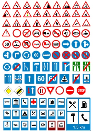 Road sign icons. Traffic signs. Vector illustration