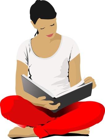Illustration pour Young Woman reading book.   - image libre de droit