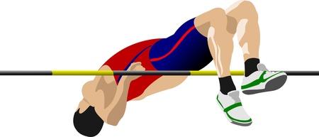 Foto de Man high jumping. Track and field. - Imagen libre de derechos