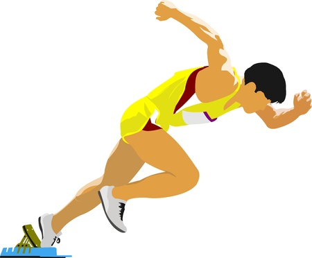 Foto de Short-distance runner. Start.  - Imagen libre de derechos