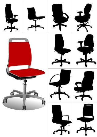 Big set Illustrations of office chairs isolated on white background. Vectors