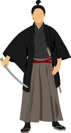 Samurai with the  sword. Vector illustration
