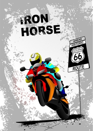Grunge gray background with motorcycle image. Iron horse. Vector illustration