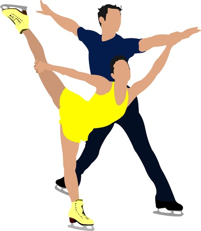 Couple Figure skating colored silhouettes.illustration