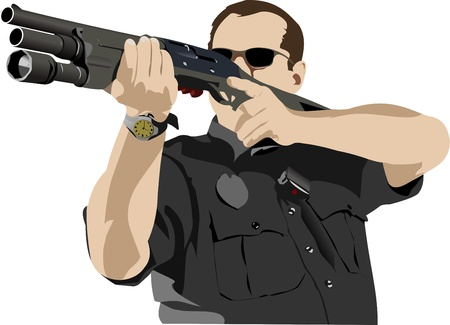 Armed policeman preparing to shoot with automatic rifle illustration