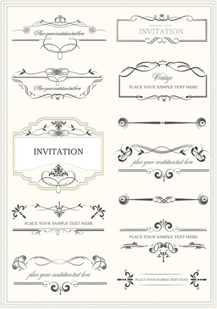 Calligraphic elements, dividers and frame vintage set.
